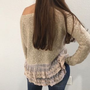 Promesa oatmeal textured knit sweater w/ lace